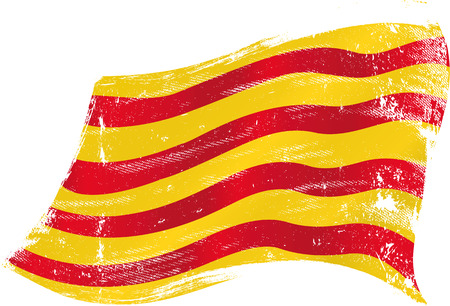flag of Catalonia in the wind with a texture