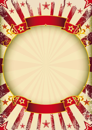 cabaret stage: un cartel de la vendimia del circo con un marco del c�rculo para su publicidad.