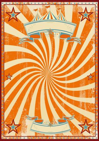 オレンジのビンテージ サーカス ポスターの渦と背景