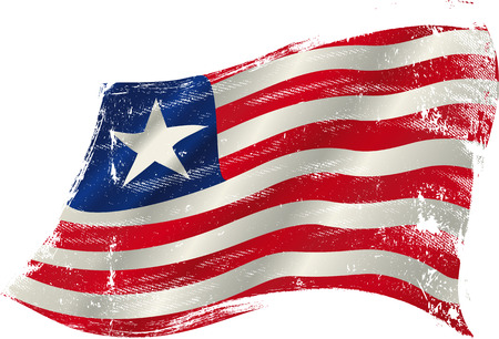 flag of Liberia in the wind with a texture Vector