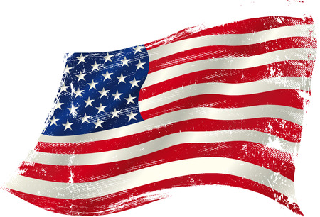 flag of  USA  in the wind with a texture. Vector