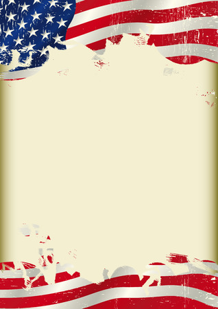 A poster with a large scratched frame and a Grunge USA flag for your advertising. Vector