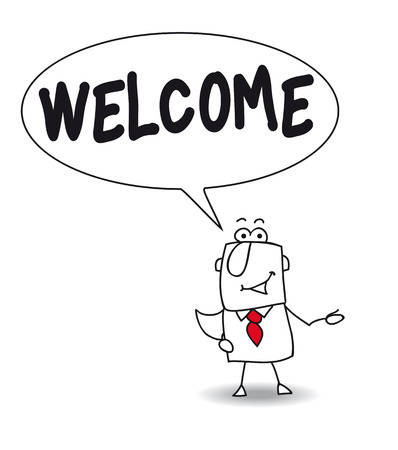 joe: Joe, the businessman says welcome Illustration