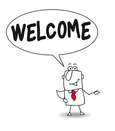 politeness: Joe, the businessman says welcome Illustration