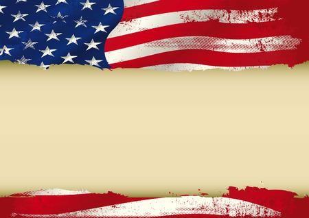 Una bandera americana grunge con un marco grande para su mensaje. Ideal para usar en una pantalla Vectores