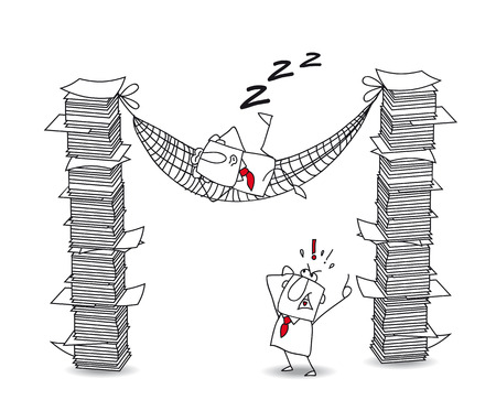 bawl: Joe is lying in his hammock between two paper stacks. Its a metaphor of a lazy man at work Illustration
