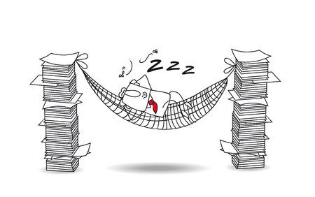lazybones: Joe is lying in his hammock between two paper stacks. He do a break