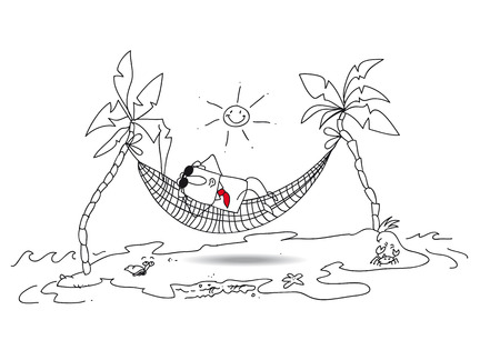 away from it all: Joe is in holiday in a desert island. He tans in a hammock between two coconuts. Bye bye my boss loved. Illustration