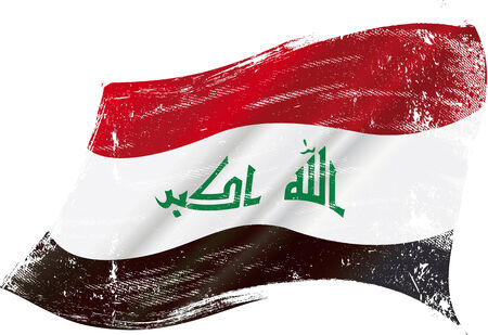 iraq war: flag of  Iraq in the wind with a texture