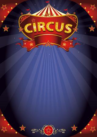 夜の娯楽のための標識がある背景のサーカス ポスター。
