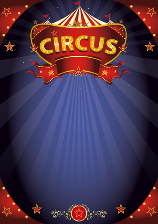 A circus background poster with a sign  in the night for your entertainment. Ilustração
