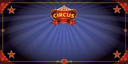A circus greeting card with a sign  in the night for your entertainment. Vector