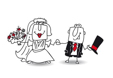 Karen and Joe get married. They are very happy Vector