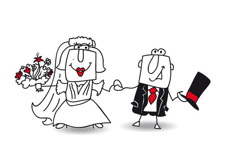 fashion story: Karen and Joe get married. They are very happy Illustration