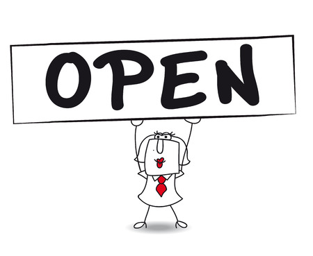 shop opening hours: Karen, the business woman is carrying a large sign \\\OPEN\\\. The shop is open ! Illustration