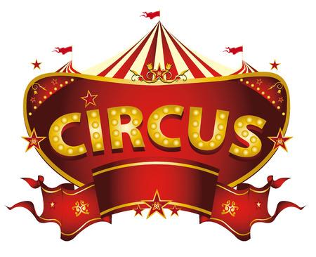 vintage: Ein Zirkus-Zeichen isoliert auf weißem Hintergrund für Ihre Unterhaltung