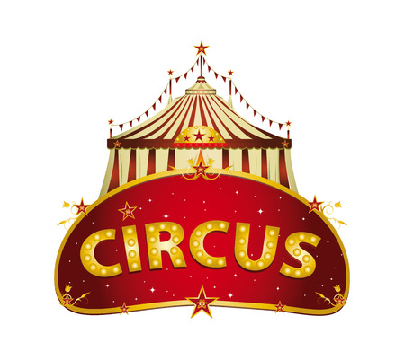 A circus RED sign with a big top on a white background for your entertainment Illustration