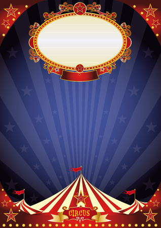 circus tent: A circus poster with a large empty placard on a night sky for your entertainment