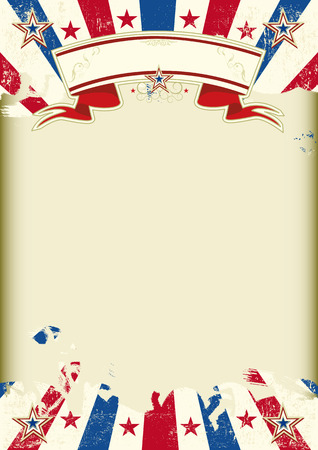 American dirty poster with a large empty kraft paper frame for your message Illustration