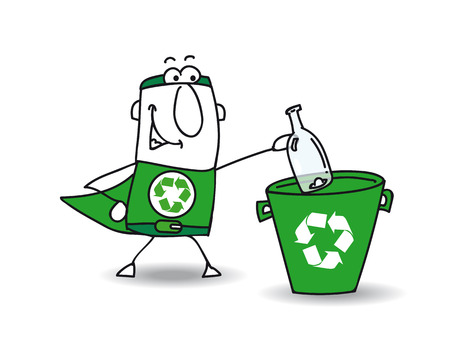 environmental contamination: Recycle-Man the superhero recycles a glass bottle in a specific trash