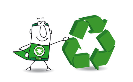 Super Hero with a recycling sign. Save the earth Vector
