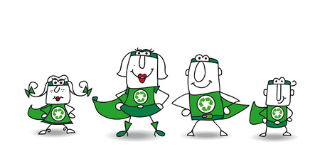 We are the family of superheroes and we can help you to recycling your rubbishes ! Vector