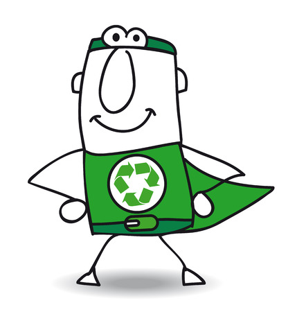 environmental contamination: The Superhero of recycle helps you for the recycling process Illustration