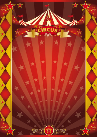 festivities: A retro circus poster with sunbeams for your entertainment.