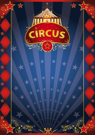 revue: A retro circus poster with sunbeams for your entertainment.