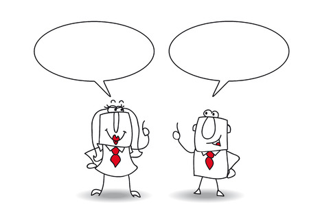 hearty: A businessman and a businesswoman are talking together Illustration