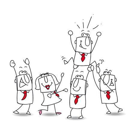 jump for joy: Business team is very happy Illustration