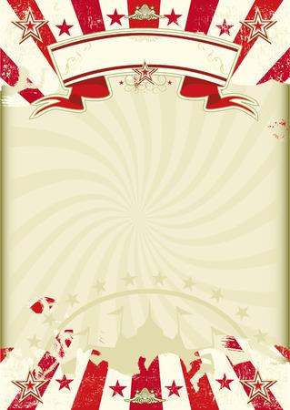 Um fundo circo era de papel kraft com grunge raios de sol vermelho. Poster ideal para o seu show Ilustração