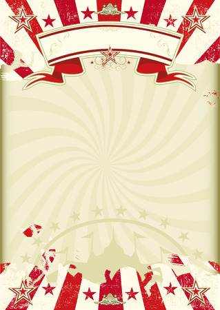A circus background WAS kraft paper with grunge red sunbeams. Ideal poster for your show