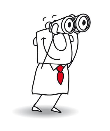 이 사업가 쌍안경과 좋은 볼 수 있습니다. 그것은 은유입니다. 그는 궁극적 인 문제를 예상하고 있기 때문에 그는 매우 지능 일러스트