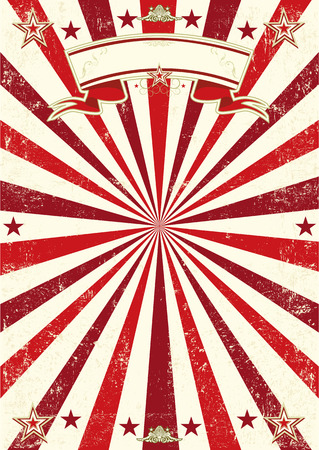 A vintage red background with sunbeams and a texture. Ideal poster for your show
