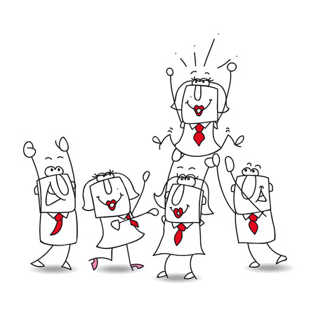 This teamwork is very happy. this year the winner is ... the businesswoman Karen! Illustration