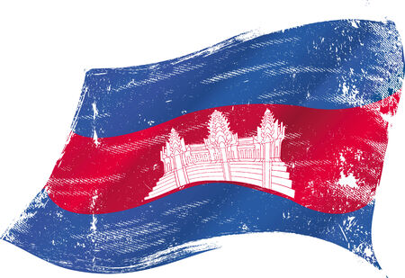 cambodian flag: A Cambodian grunge flag in the wind for you