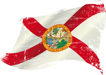 flag of Florida in the wind with a texture Vector