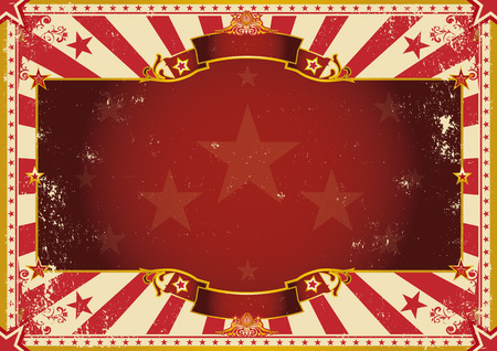 circus stage: a vintage poster with red sunbeams for your advertising. Perfect size for a screen.