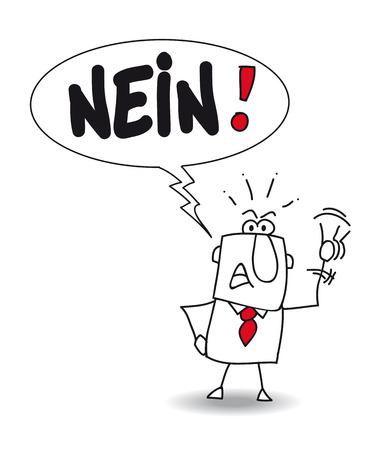 pas d accord: Joe dit non en allemand. Il est en d�saccord