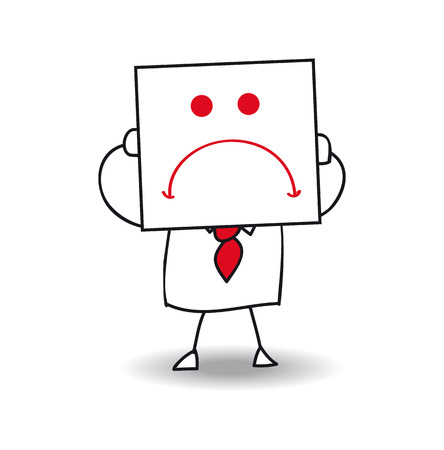 dreary: Joe holds a sheet of paper on All which is drawn a sad face. He Is in the sulks, He Is anonymous behind this sheet of paper. Illustration