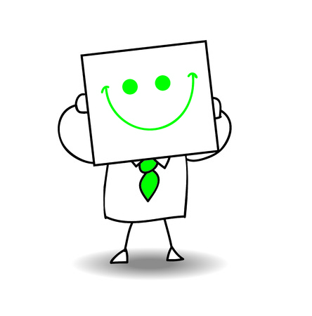 joyfulness: Joe is holding a sheet of paper on All which is drawn a happy face. He Is very happy, it is a metaphor of the joy of life and cheerfulness of the