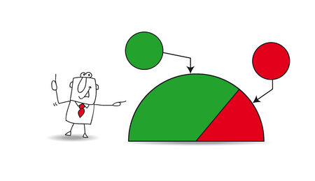 Joe shows a pie chart with the results of the balance sheet is very good Vector