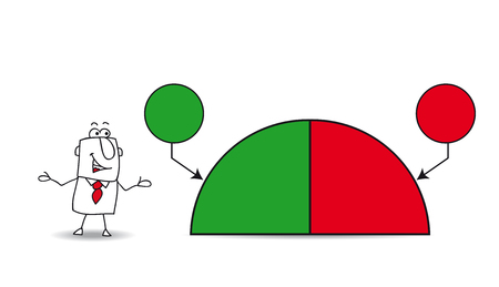 data sheet: Joe shows a pie chart with the results company. the balance sheet is fifty percents Illustration