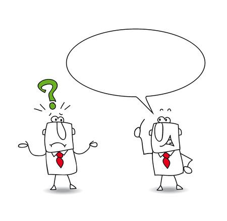 bred: bien, pero por qu�. Joe hace una pregunta a su colega. Pero Sam no tiene respuesta Vectores