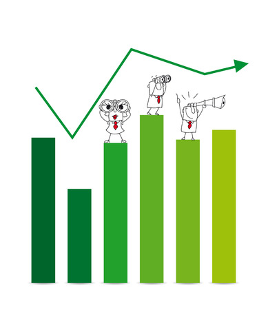 two Businessmen and a businesswoman on a chart with a telescope and binoculars. It is a metaphor of the results and goals of a company Vector