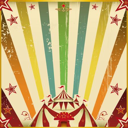 祭: 太陽光線とのあなたのショーのための多色サーカス平方招待。  イラスト・ベクター素材