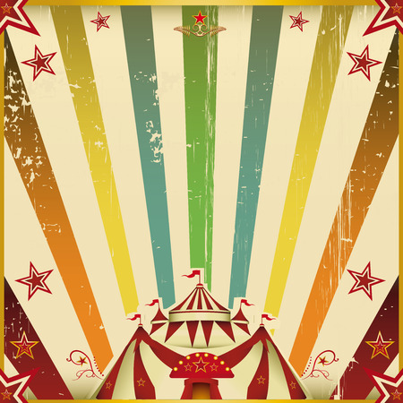A multicolored circus square invitation for your show with sunbeams.