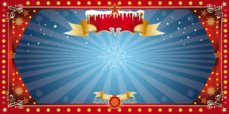 kerst markt: Een groet blauwe kaart voor kerstmis, uw markt kerst of het nieuwe jaar Stock Illustratie