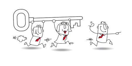 business it: A business team carries a key. it is a metaphor : they have find the solution for their problem